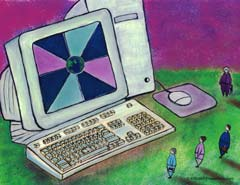 Drawing of computer; Size=240 pixels wide